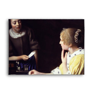Lady with Maidservant Holding Letter by Vermeer Envelope