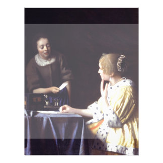 Lady with Maidservant Holding Letter by Vermeer Flyer
