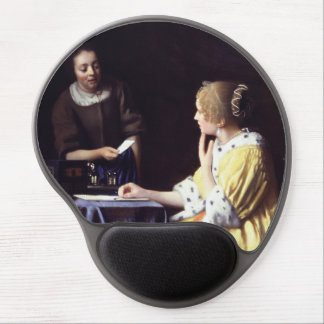 Lady with Maidservant Holding Letter by Vermeer Gel Mouse Pad