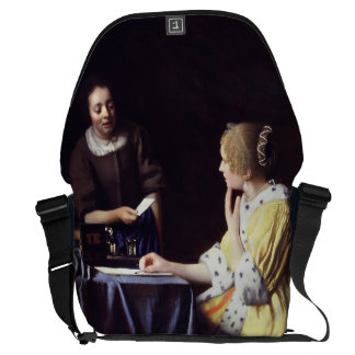 Lady with Maidservant Holding Letter by Vermeer Messenger Bag