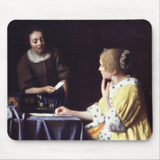 Lady with Maidservant Holding Letter by Vermeer Mouse Pad