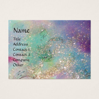 LADY WITH MASK IN THE NIGHT ,Gold Blue Sparkles Business Card
