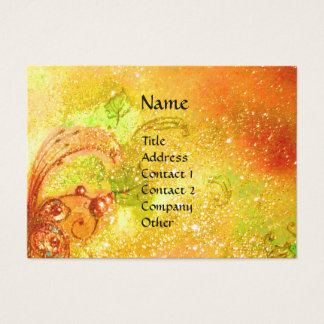 LADY WITH MASK IN THE NIGHT ,Gold Yellow Sparkles Business Card