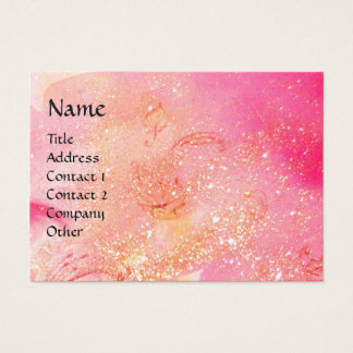 LADY WITH MASK IN THE NIGHT ,Pink Gold Sparkles Business Card