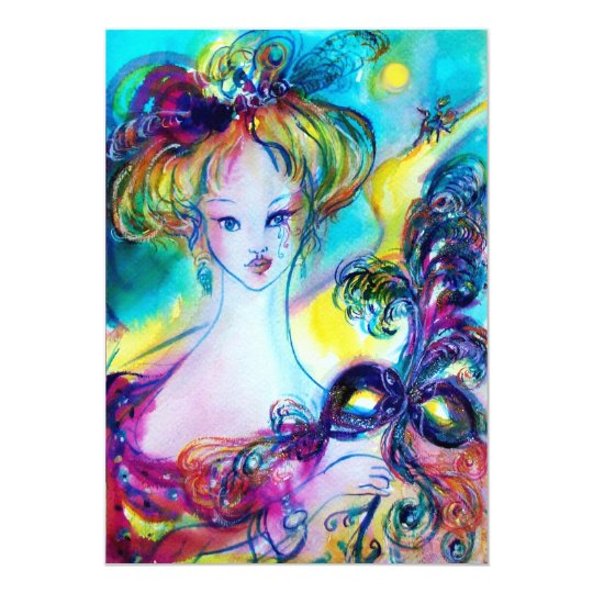 LADY WITH MASK / Venetian Masquerade Ball Card