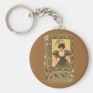 Lady with Mistletoe and Art Nouveau Accent Keychain