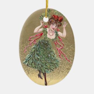 Lady with Mistletoe Dress Vintage Christmas Ceramic Ornament