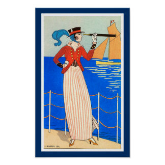 LADY WITH MONOCLE ART DECO NAUTICAL BEAUTY FASHION PRINT
