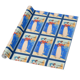LADY WITH MONOCLE ART DECO NAUTICAL BEAUTY FASHION WRAPPING PAPER