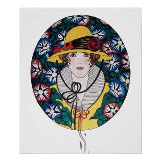 Lady with Morning Glories Poster