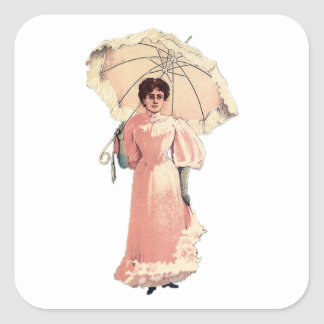 Lady With Parasol Square Sticker