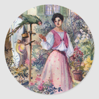 Lady with Parrot and Cat by Hacienda Classic Round Sticker