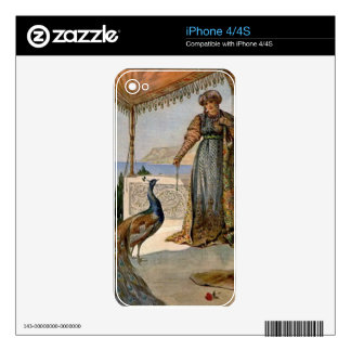 Lady with peacock iPhone 4 skin