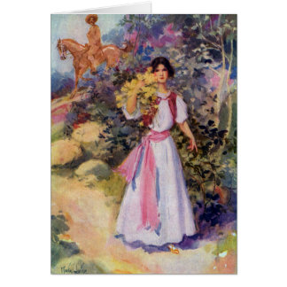 Lady with Pink Sash on Mountain Trail Greeting Cards