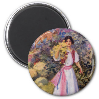 Lady with Pink Sash on Mountain Trail Refrigerator Magnet