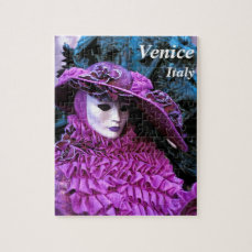 Lady With Purple Carnival Costume Jigsaw Puzzle