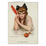 Lady With Red Quill Pen Greeting Card