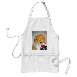 LADY WITH RED ROSE ADULT APRON