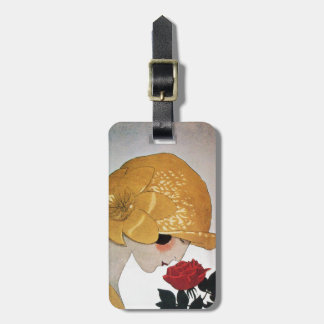 LADY WITH RED ROSE BAG TAG