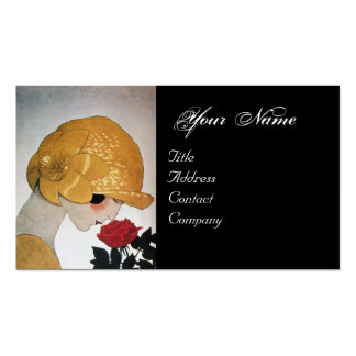 LADY WITH RED ROSE BEAUTY FASHION COSTUME DESIGNER Double-Sided STANDARD BUSINESS CARDS (Pack OF 100)