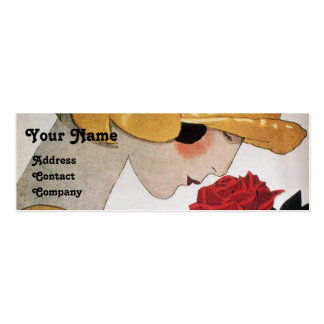 LADY WITH RED ROSE BEAUTY FASHION COSTUME DESIGNER MINI BUSINESS CARD