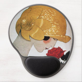 LADY WITH RED ROSE Beauty Fashion Gel Mouse Pad