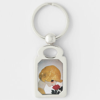 LADY WITH RED ROSE Beauty Fashion Keychain