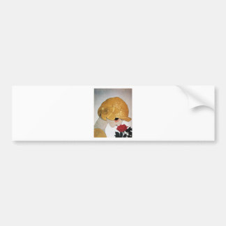 LADY WITH RED ROSE BUMPER STICKER
