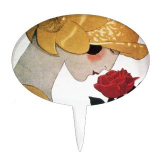 LADY WITH RED ROSE CAKE TOPPER