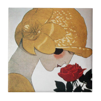 LADY WITH RED ROSE CERAMIC TILE