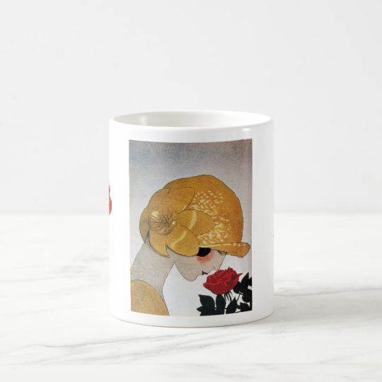 LADY WITH RED ROSE COFFEE MUG