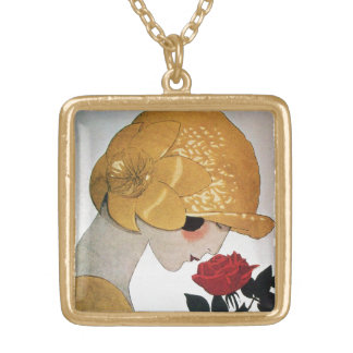 LADY WITH RED ROSE GOLD PLATED NECKLACE