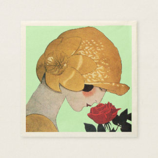 LADY WITH RED ROSE ,Green Paper Napkin