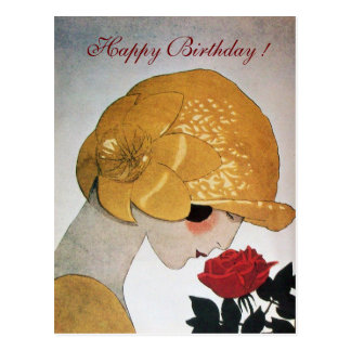 LADY WITH RED ROSE Happy Birthday Postcard