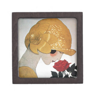 LADY WITH RED ROSE JEWELRY BOX