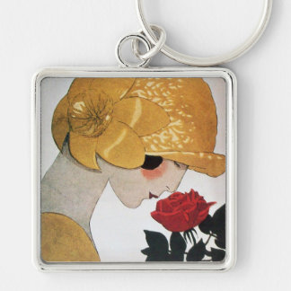 LADY WITH RED ROSE KEYCHAIN