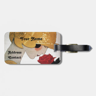 LADY WITH RED ROSE LUGGAGE TAG