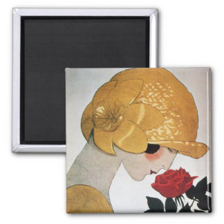 LADY WITH RED ROSE 2 INCH SQUARE MAGNET