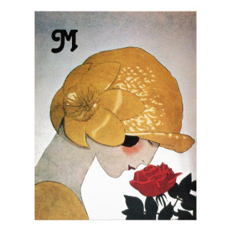 LADY WITH RED ROSE MONOGRAM LETTERHEAD