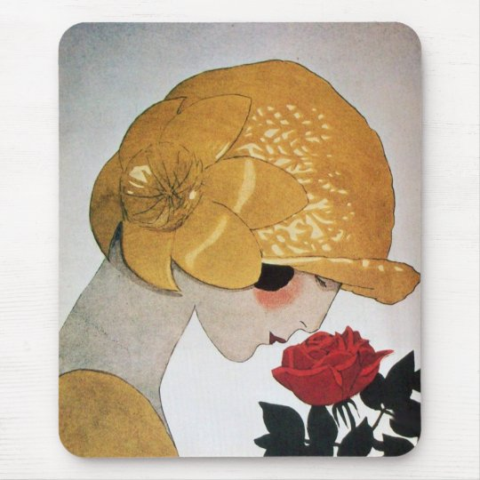 LADY WITH RED ROSE MOUSE PAD