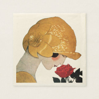 LADY WITH RED ROSE NAPKIN