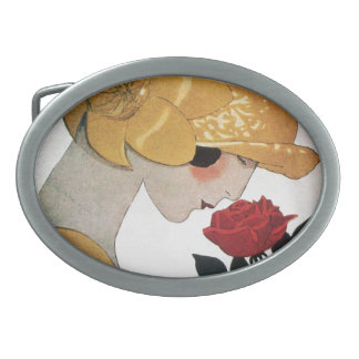 LADY WITH RED ROSE OVAL BELT BUCKLE