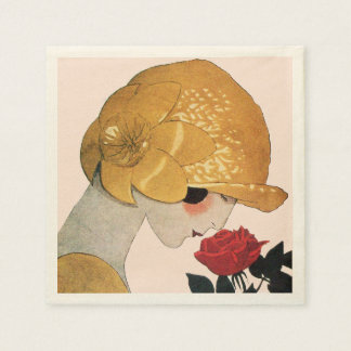 LADY WITH RED ROSE ,Pink Paper Napkin