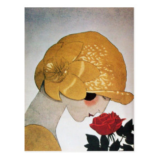 LADY WITH RED ROSE POSTCARD
