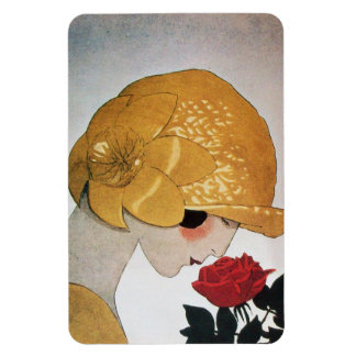 LADY WITH RED ROSE RECTANGULAR PHOTO MAGNET