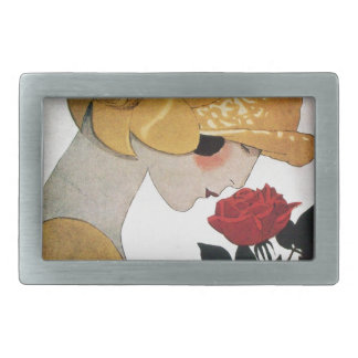 LADY WITH RED ROSE RECTANGULAR BELT BUCKLE