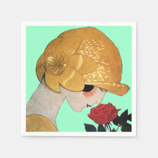LADY WITH RED ROSE ,Teal Turquoise Paper Napkin