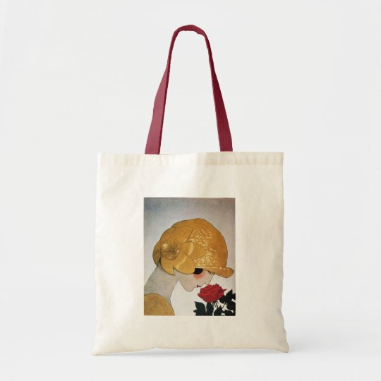 LADY WITH RED ROSE TOTE BAG