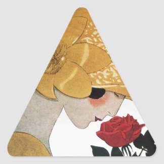LADY WITH RED ROSE TRIANGLE STICKER