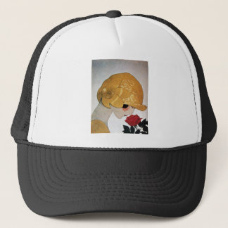 LADY WITH RED ROSE TRUCKER HAT
